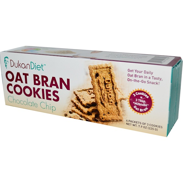 Dukan Diet, Oat Bran Cookies Chocolate Chip, 6 Packets of 3 Cookies, (37 g) Each (Discontinued Item)