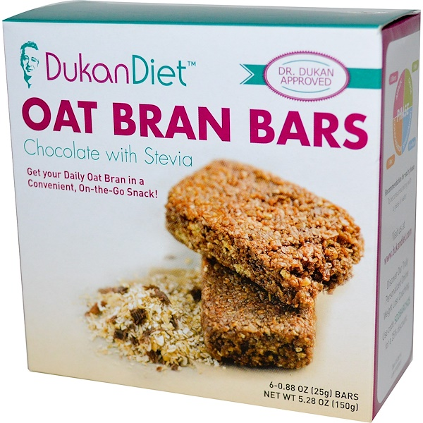 Dukan Diet, Oat Bran Bars, Chocolate with Stevia, 6 Bars, 0.88 oz (25 g) Each (Discontinued Item)