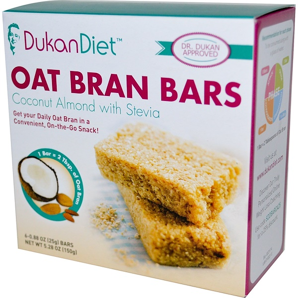 Dukan Diet, Oat Bran Bars, Coconut Almond with Stevia, 6 Bars, 0.88 oz (25 g) Each (Discontinued Item)