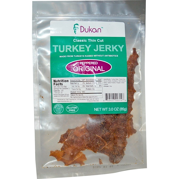 Dukan Diet, Turkey Jerky, Peppered Original, 3.0 oz (85 g) (Discontinued Item)