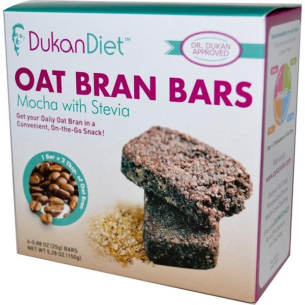 Dukan Diet, Oat Bran Bars, Mocha with Stevia, 6 Bars, 0.88 oz (25 g) Each (Discontinued Item)