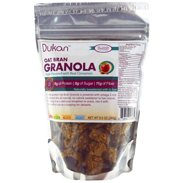 Dukan Diet, Oat Bran Granola, Apple Flavored with Real Cinnamon, 8.5 oz (240 g) (Discontinued Item)