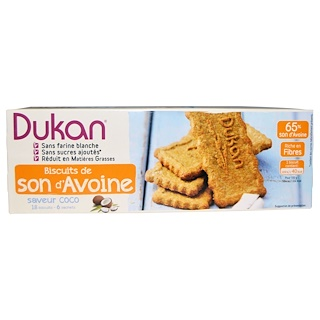 Dukan Diet, Oat Bran Cookies, Coconut, 6 Packets, 3 Cookies (37 g) Each