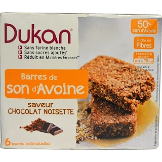Dukan Diet, Oat Bran Bars, Chocolate Hazelnut Flavor, 5 Bars, 0.88 oz (25 g) Each