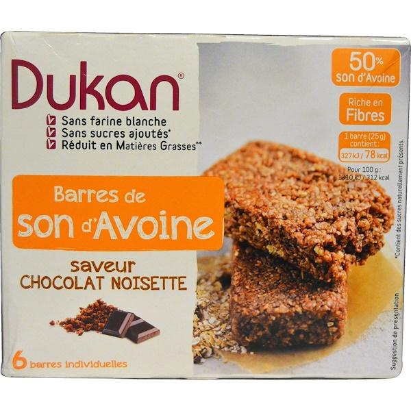 Dukan Diet, Oat Bran Bars, Chocolate Hazelnut Flavor, 5 Bars, 0.88 oz (25 g) Each