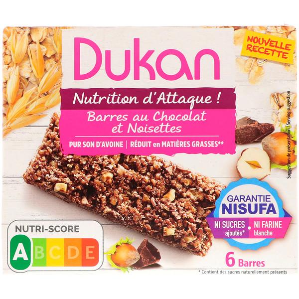 Dukan Diet, أصابع نخالة الشوفان، نكهة الشكولاتة بالبندق، 5 ألواح، 0.88 أونصة (25 غ) الواحد