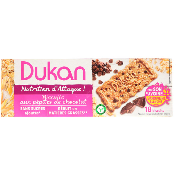 Dukan Diet, Oat Bran Cookies, Chocolate Chip, 6 Packets, 3 Cookies (37,5 g) Each (Discontinued Item)
