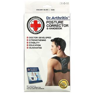 Doctor Arthritis, Posture Corrector & Handbook, Medium, Black, 1 Corrector