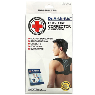 Doctor Arthritis, Posture Corrector & Handbook, Large, Black, 1 Corrector