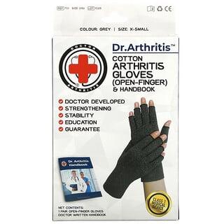 Doctor Arthritis, Cotton Open-Finger Arthritis Gloves & Handbook, X-Small, Grey, 1 Pair