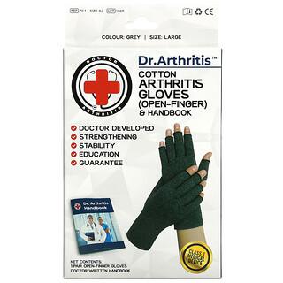 Doctor Arthritis, Cotton Open-Finger Arthritis Gloves & Handbook, Large, Grey, 1 Pair
