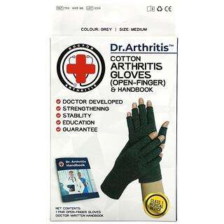 Doctor Arthritis, Cotton Open-Finger Arthritis Gloves & Handbook, Medium, Grey, 1 Pair