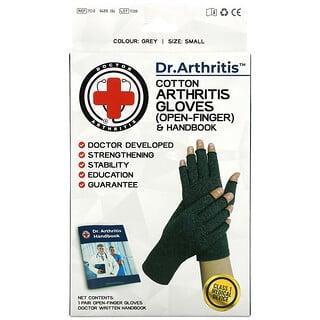 Doctor Arthritis, Cotton Open-Finger Arthritis Gloves & Handbook, Small, Grey, 1 Pair