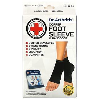 Doctor Arthritis, Copper Foot Sleeve & Handbook, Medium, Black, 1 Pair
