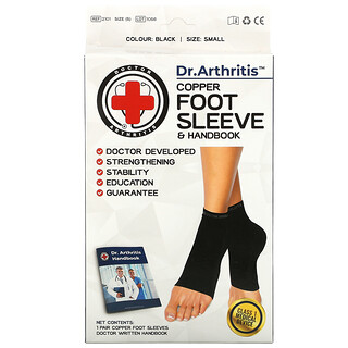 Doctor Arthritis, Copper Foot Sleeve & Handbook, Small, Black, 1 Pair