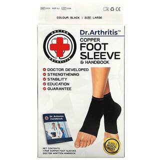 Doctor Arthritis, Copper Foot Sleeve & Handbook, Large, Black, 1 Pair