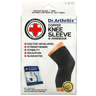Doctor Arthritis, Copper Knee Sleeve & Handbook, Small, Black, 1 Sleeve