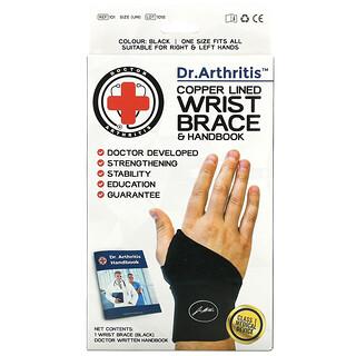 Doctor Arthritis, Copper Lined Wrist Brace & Handbook, Black, 1 Brace