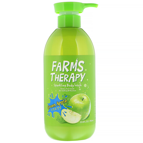 Doori Cosmetics, Farms Therapy, Sparkling Body Wash, Green Apple, 23.6 fl oz (700 ml)