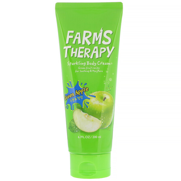 Doori Cosmetics, Farms Therapy, Sparkling Body Cream, Green Apple, 6.7 fl oz (200 ml)