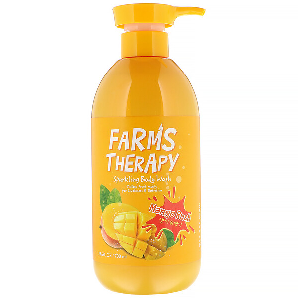 Doori Cosmetics, Farms Therapy, Sparkling Body Wash, Mango Rush, 23.6 fl oz (700 ml)