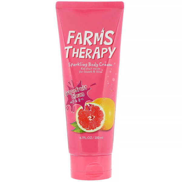 Farms Therapy, Sparkling Body Cream, Grapefruit Clean, 6.7 fl oz (200 ml)
