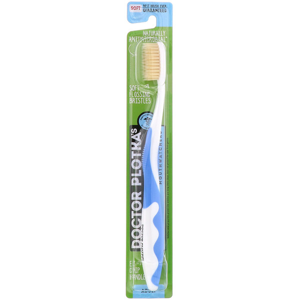 MouthWatchers, Adult, Naturally Antimicrobial Toothbrush, Soft, Blue, 1 Toothbrush