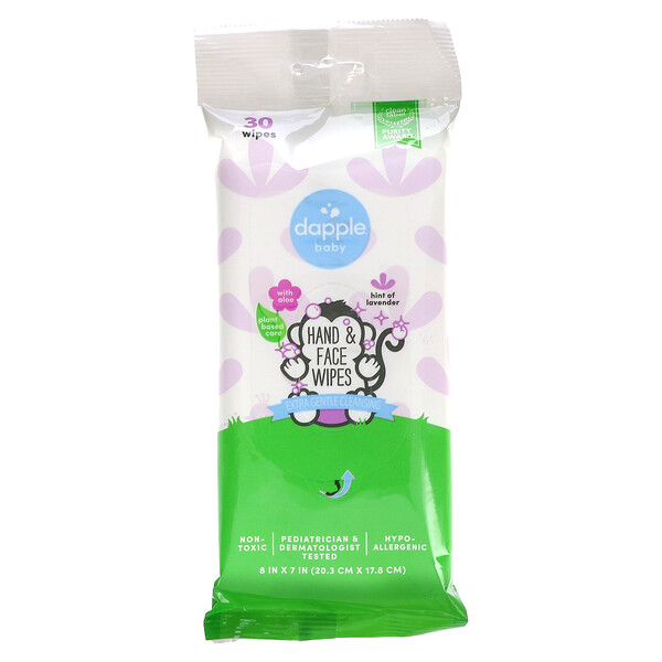Baby, Hand & Face Wipes, Lavender, 30 Wipes