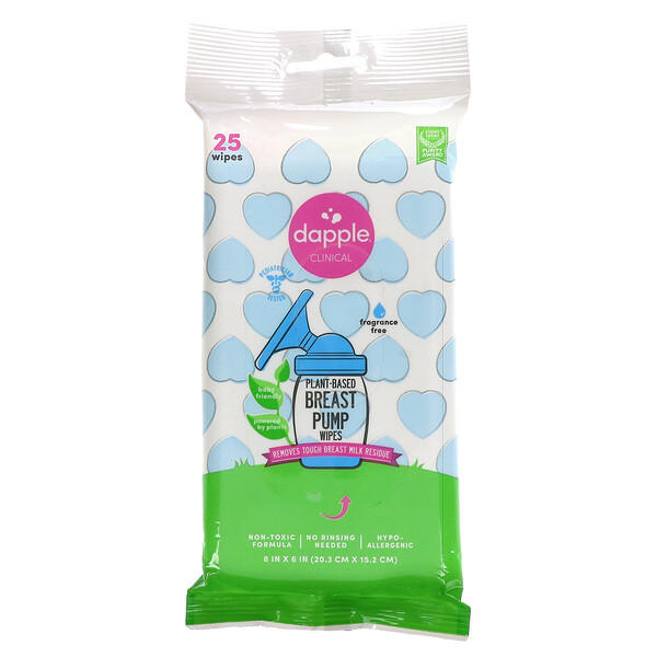 Clinical, Plant-Based Breast Pump Wipes, Fragrance Free, 25 Wipes