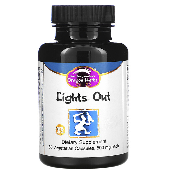Dragon Herbs, Lights Out, 500 mg, 60 Vegetarian Capsules