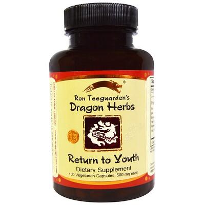 Купить Dragon Herbs Return to Youth (возвращение в молодость), 500 мг, 100 вегетарианских капсул