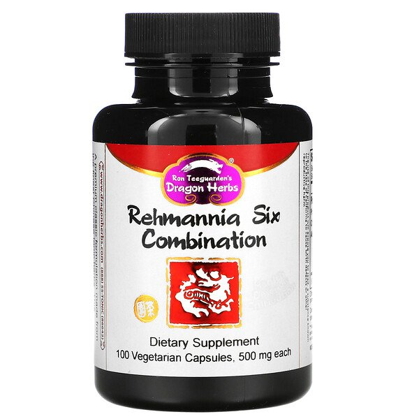 Dragon Herbs, Rehmannia Six Combination, 500 mg, 100 Vegetarian Capsules