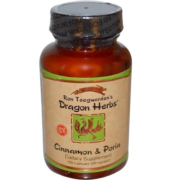 Dragon Herbs, Корица с порией, 500 мг, 100 капсул