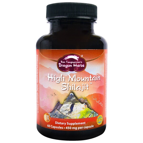 Dragon Herbs, High Mountain Shilajit, 450 mg, 60 Capsules