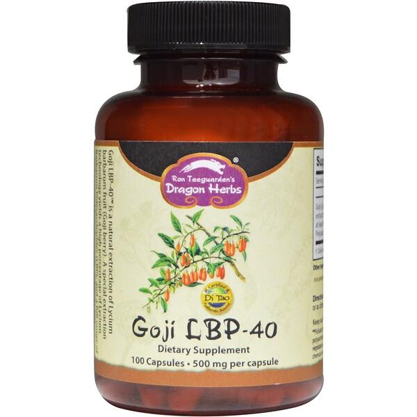 Dragon Herbs, ゴジ(Goji)LBP-40, 500 mg, 100カプセル
