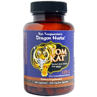 Dragon Herbs, Tom Kat, Potent Jing Tonic For Men, 250 mg, 100 Capsules