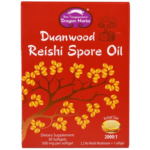 Dragon Herbs, Duanwood Reishi Spore Oil, 500 mg, 30 Softgels