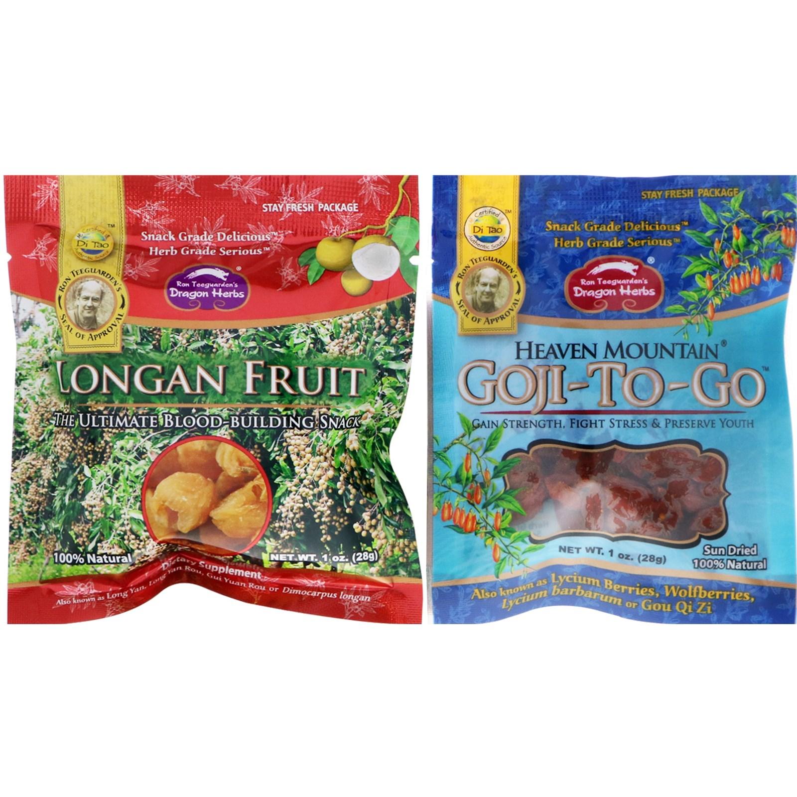 Dragon Herbs, Goji-To-Go & Longan Fruit Combo Pack, 1 oz (28 g) Each