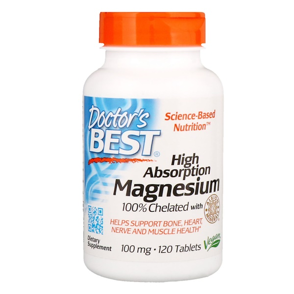 High Absorption Magnesium 100% Chelated with Albion Minerals, 100 mg, 120 Tablets
