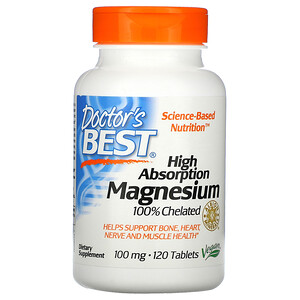 Докторс Бэст, High Absorption Magnesium 100% Chelated with Albion Minerals, 100 mg, 120 Tablets отзывы покупателей