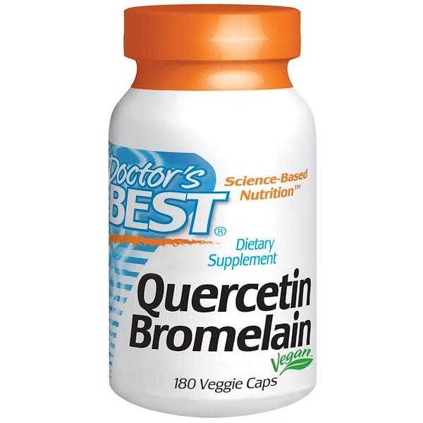 Doctor's Best, Кверцетин и Бромелаин, 180 капсул