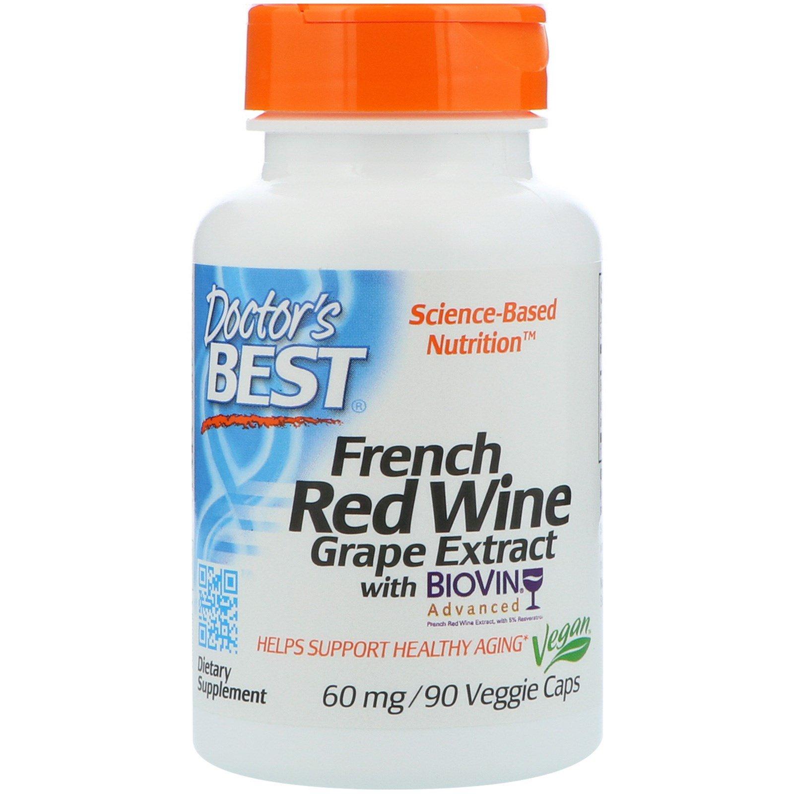 Doctor's Best, Экстракт французского красного винограда, 60 мг, 90 растительных капсул