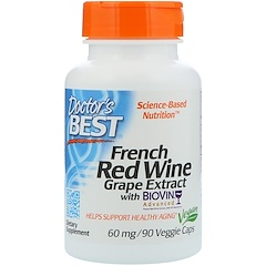 Doctor's Best, French Red Wine Grape Extract, 60 mg, 90 Veggie Caps