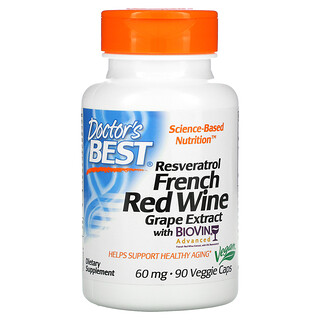 Doctor's Best, Resveratrol French Red Wine Grape Extract, 60 mg, 90 Veggie Caps