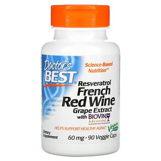 Doctor's Best, ресвератрол из экстракта французского красного винного винограда, 60мг, 90вегетарианских капсул