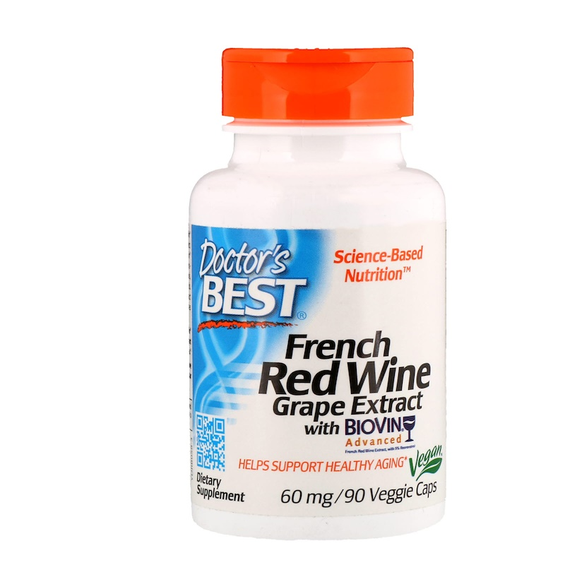 French Red Wine Grape Extract, 60 mg, 90 Veggie Caps