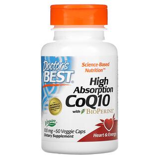 Doctor's Best, коэнзимQ10 с высокой степенью всасывания, с BioPerine, 100мг, 60вегетарианских капсул