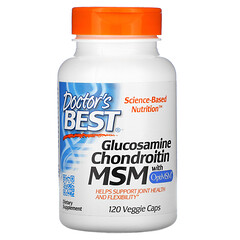 Doctor's Best, 葡萄糖胺軟骨素 MSM,含 OptiMSM,120 粒素食膠囊
