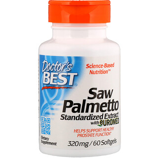 Doctor's Best, Saw Palmetto,Euromed標準提取物,320毫克,60粒軟膠囊
