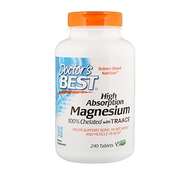 Doctor's Best, High Absorption Magnesium, 100% Chelated with Albion Minerals, 100 mg, 240 Tablets